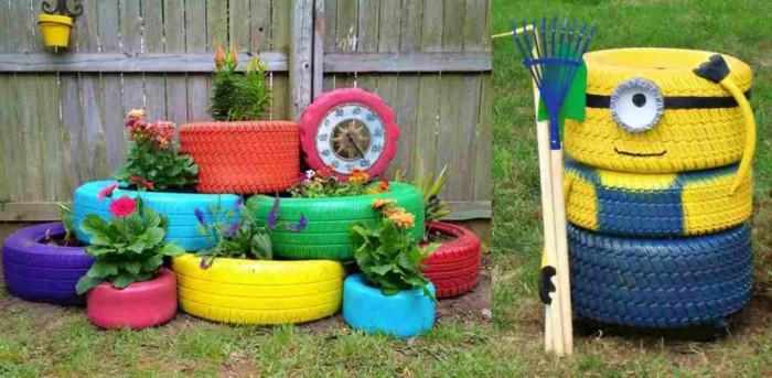 Шарено и забавно в градината с... гуми