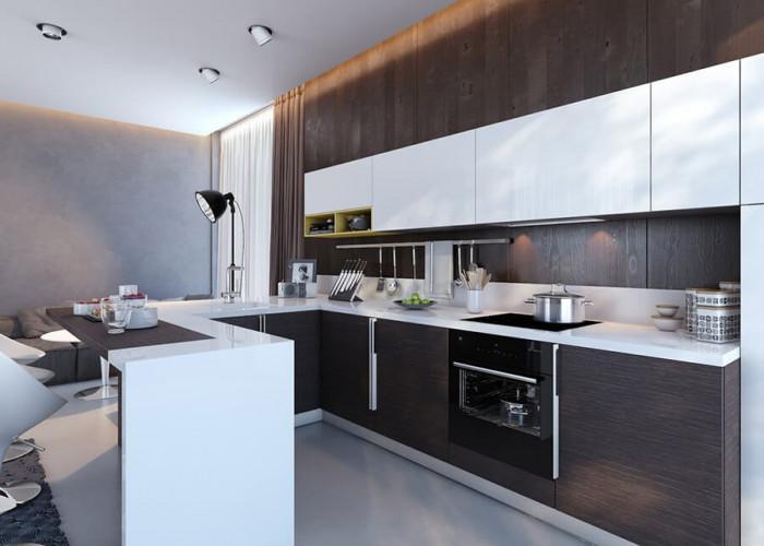 П-образната кухня позволява изграждането на практичен бар плот