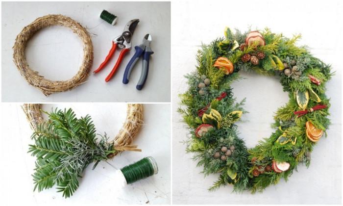 Коледен венец – изцяло от естествени материали