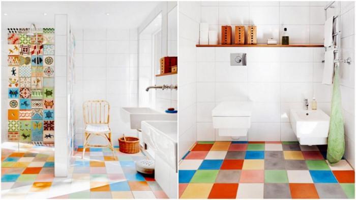 Разноцветен под в банята