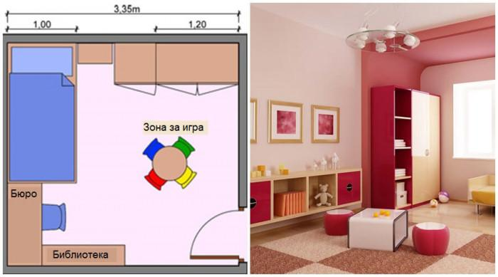Преместете зоната за игра в центъра на детската стая