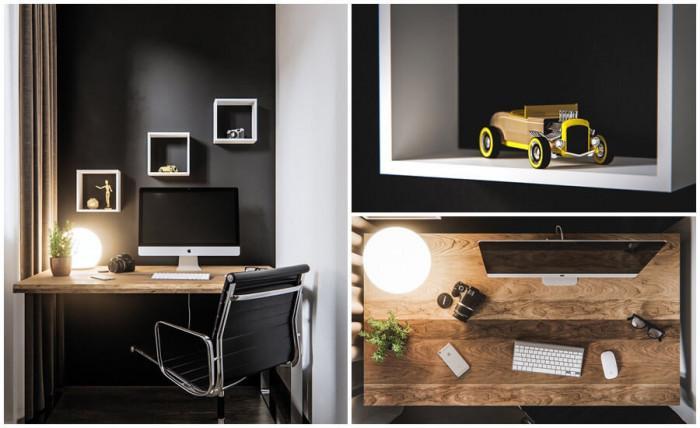 Работното кътче в хола се отличава със стилни детайли
