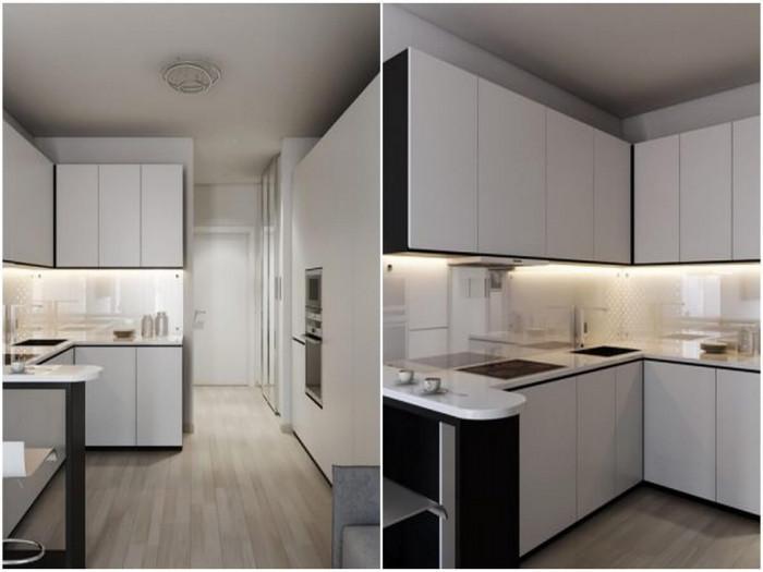 Кухнята се придържа към балансирания дизайн на дома