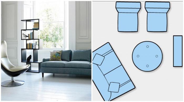 Асиметрично разполагане на мебелите в големия хол