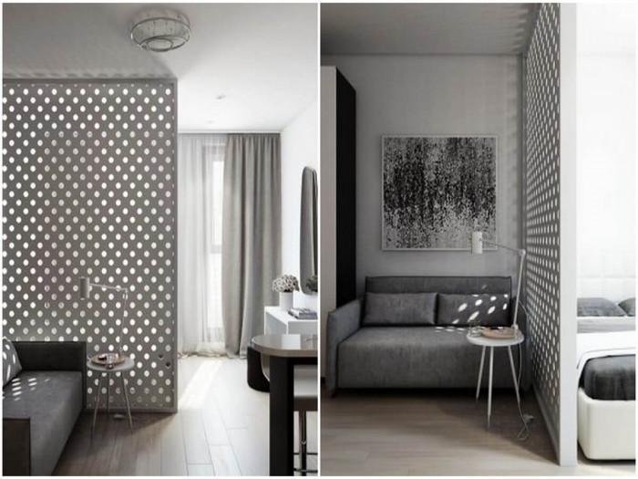 Дневната и спалнята са разделени от невероятна преградна стена