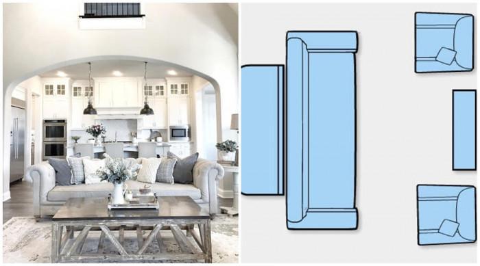 Поставете дивана с гръб към функционалната кухня