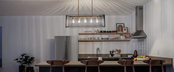 Линейно разположени лампи над плота - лесно и просто правило