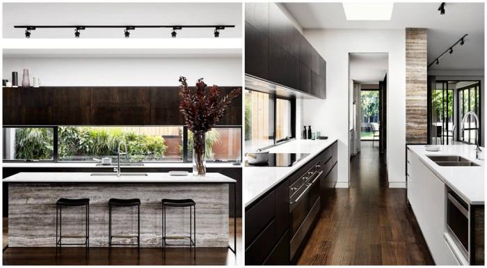 Удобна кухня с голям остров в сив дървесен цвят