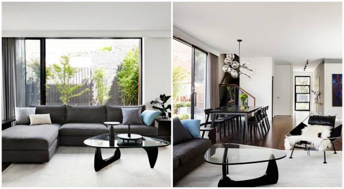 Дневна с контрастиращи монохромни цветове, които са основите на цялото жилище