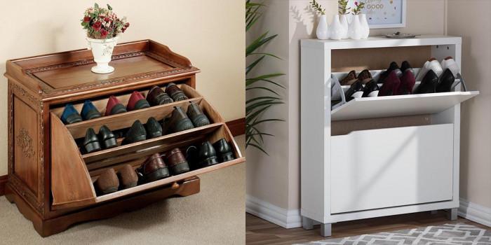 Шкаф за обувки с падащи рафтове