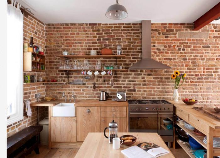 Тухлената стена - основен елемент в индустриалната кухня