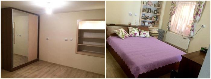 Спалня в нежно лилаво и зелено