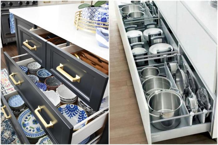 Организирайте правилно кухненските шкафове и чекмеджета