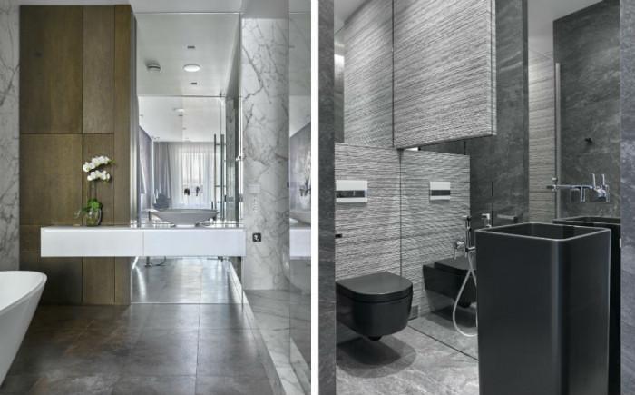 Изчистени и стилни линии в двете бани