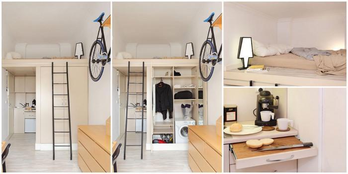 Мини спалня, а под нея кухня