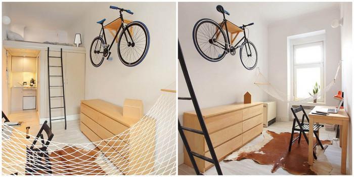 Хол, кухня, баня, спалня и дори хамак на 13 кв. м.