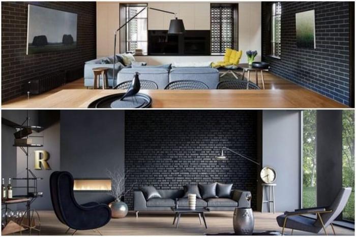 Внесете артистична атмосфера чрез черна тухлена стена