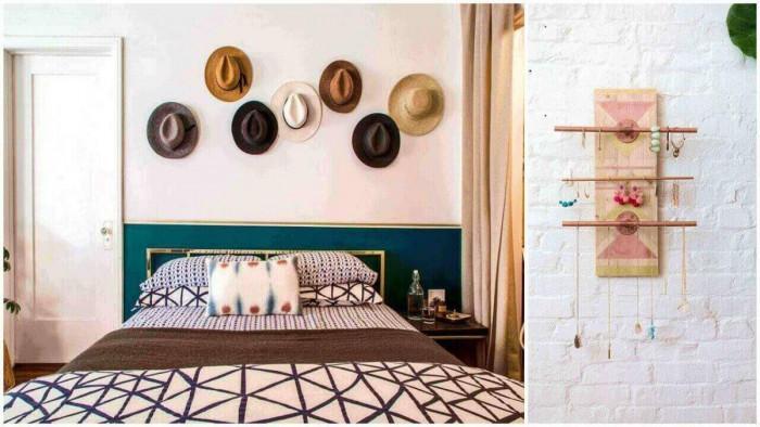 В спалнята: Разположете аксесоарите върху стената