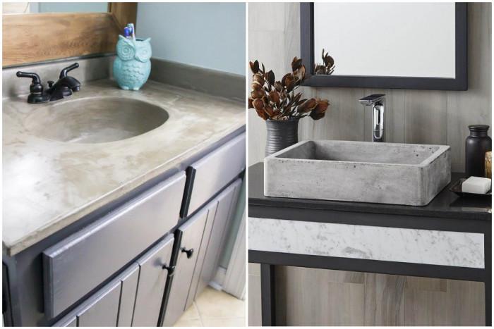 Покрийте мивката с бетон