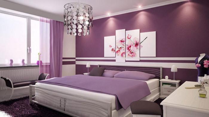 Дизайн на спалнята в бяло и люлякови нюанси