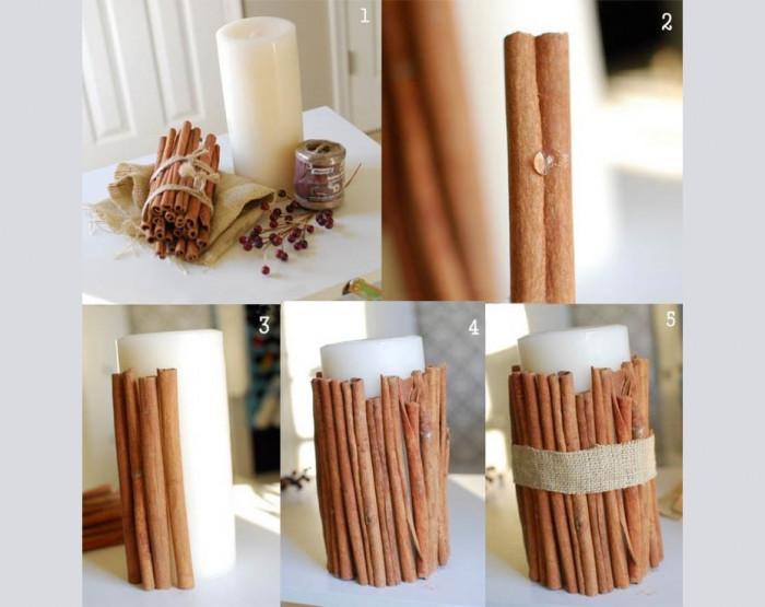Свещи с канелени пръчици