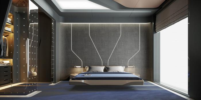Модерна спалня с технологични елементи