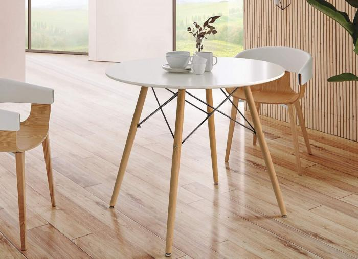 6. Кръгла маса с бял плот