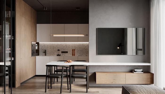 Кухня, трапезария и дневна в една стая? Напълно възможно