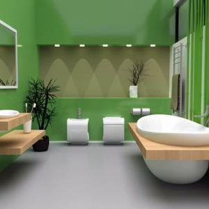 Еко дизайн за баня в зелено, съчетан с елементи от дърво