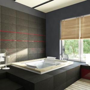 Голяма вана и черни плочки с фини абстрактни рисунки
