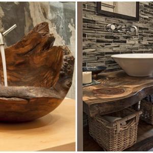 Елементи от необработено дърво в банята