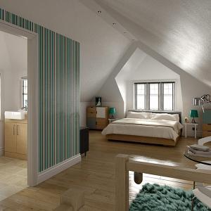Елегантно решение за спалня и баня в подпокривното пространство