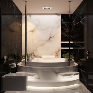Класическа мраморна баня в черно и бяло