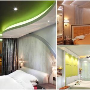 Окачени тавани за спалня, на няколко нива