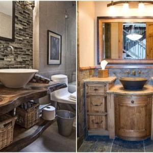 Мивка, шкафове и огледала в рустик стил