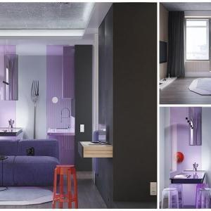 Надникваме в компактния, стилен и изискан апартамент в лилаво