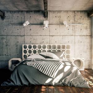Бетонна стена за по-необикновен вид в интериора на спалнята