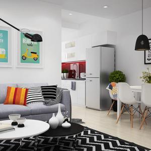 Изчистените линии на мебелите срещат смелите и провокативни картини