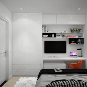 Функционалният стенен модул усвоява вертикалното пространство в спалнята