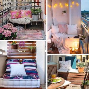 Пейка с възглавници в дъното на балкона