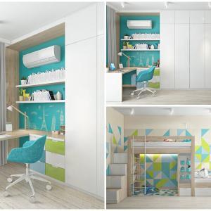 Функционална и интересна детска стая в синьо и зелено