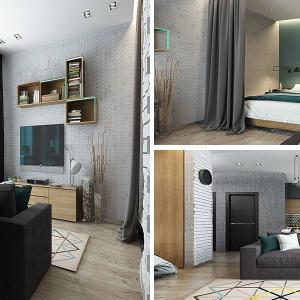Модерен индустриален апартамент в 40 кв.м.