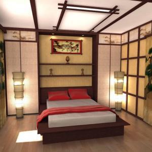 Осветлението в японската спалня предвещава уединение и спокойствие