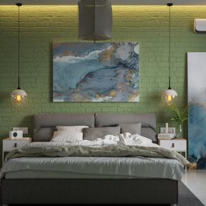 Зелена спалня с мраморни акценти